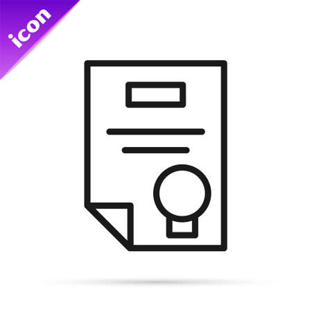 Black line Certificate template icon isolated on white background. Achievement, award, degree, grant, diploma concepts. Vector