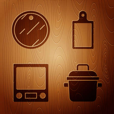 Set Cooking pot, Cutting board, Electronic scales and Cutting board on wooden background. Vector 向量圖像
