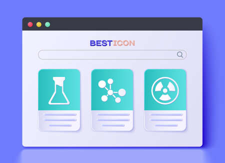 Set Molecule, Test tube and flask and Radioactive icon. Vector