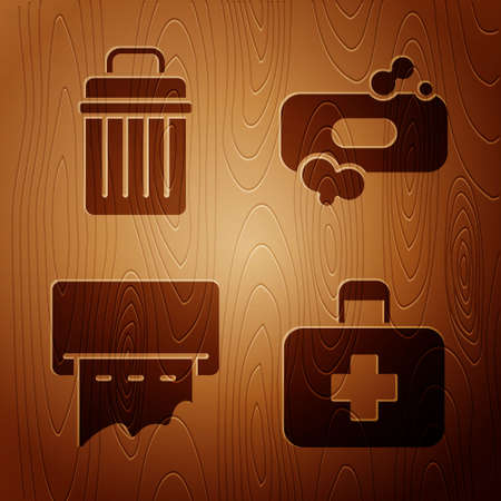 Set First aid kit, Trash can, Paper towel dispenser on wall and Bar of soap on wooden background. Vector