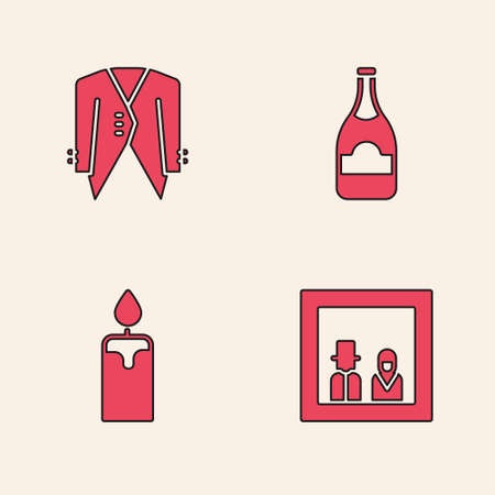 Set Family photo, Suit, Champagne bottle and Burning candle icon. Vector