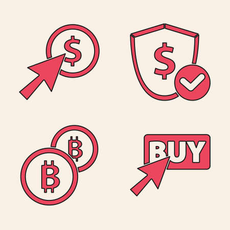 Set Buy button, Cursor and coin, Shield with dollar and Cryptocurrency coin Bitcoin icon. Vector