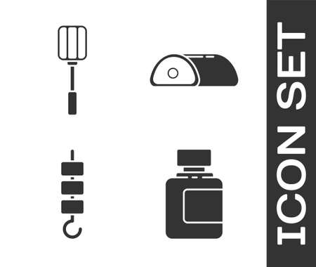 Set Sauce bottle, Spatula, Grilled shish kebab on skewer stick and Meat icon. Vector Vettoriali