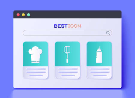 Set Spatula, Chef hat and Sauce bottle icon. Vector