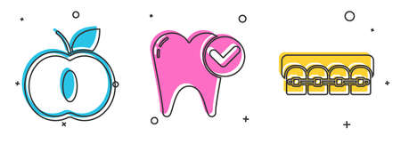 Set Apple, Tooth whitening concept and Teeth with braces icon. Vector
