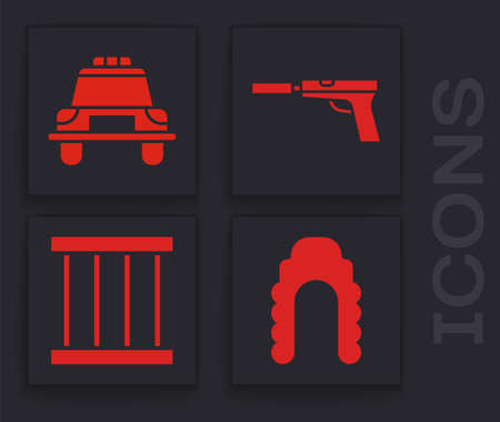 Set Judge wig, Police car and flasher, Pistol or gun with silencer and Prison window icon. Vector