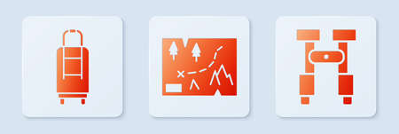 Set Folded map with location, Suitcase and Binoculars. White square button. Vector