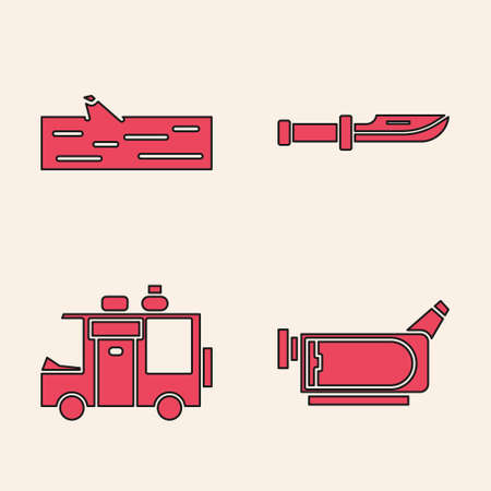 Set Cinema camera, Wooden log, Camping knife and Rv Camping trailer icon. Vector