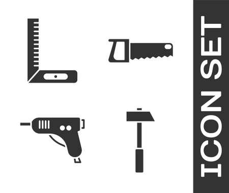 Set Hammer, Corner ruler, Electric hot glue gun and Hand saw icon. Vector