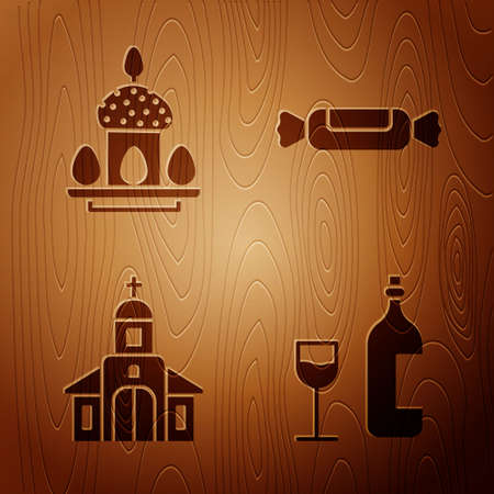 Set Wine bottle with glass, Easter cake and eggs, Church building and Candy on wooden background. Vector