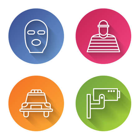 Set line Thief mask, Prisoner, Police car and flasher and Security camera. Color circle button. Vector