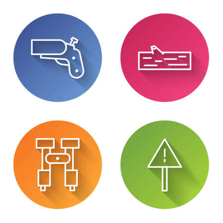 Set line Flare gun pistol, Wooden log, Binoculars and Exclamation mark in triangle. Color circle button. Vector