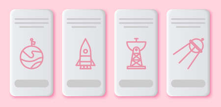Set line Moon with flag, Rocket ship, Satellite dish and Satellite. White rectangle button. Vector