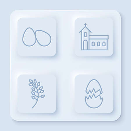 Set line Easter eggs, Church building, Willow leaf and Broken egg. White square button. Vector