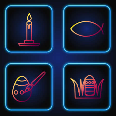 Set line Easter egg, Easter egg and paint brush, Burning candle in candlestick and Christian fish. Gradient color icons. Vector