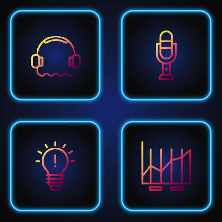 Set line Pie chart infographic, Light bulb with concept of idea, Headphones and Microphone. Gradient color icons. Vector