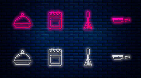 Set line Oven, Spatula, Covered with tray of food and Frying pan. Glowing neon icon on brick wall. Vector Vettoriali