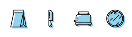 Set line Toaster, Bag of coffee beans, Knife and Cutting board icon. Vector