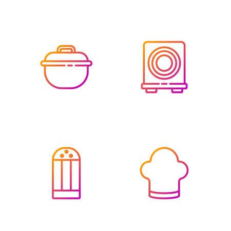Set line Chef hat, Salt, Cooking pot and Electric stove. Gradient color icons. Vector Illusztráció