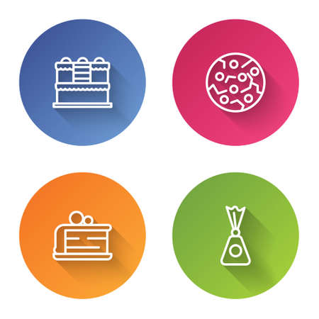 Set line Cake, Cookie or biscuit, Piece of cake and Candy. Color circle button. Vector