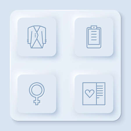 Set line Suit, Clipboard with checklist, Female gender symbol and Postcard heart. White square button. Vector