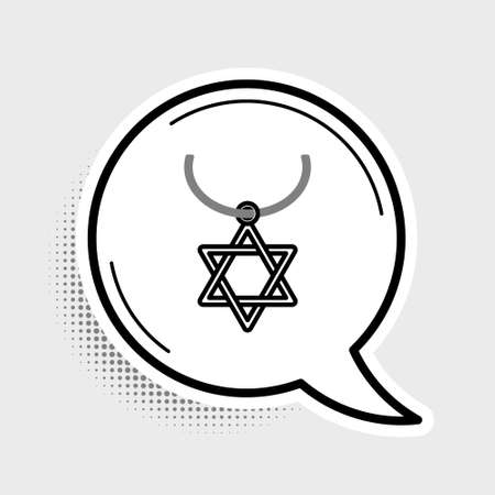 Line Star of David necklace on chain icon isolated on grey background. Jewish religion symbol. Symbol of Israel. Jewellery and accessory. Colorful outline concept. Vector