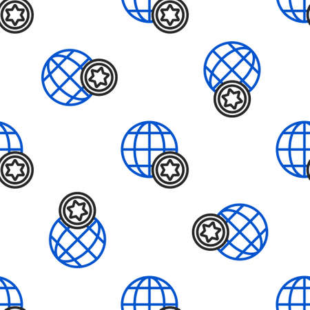 Line World Globe and Israel icon isolated seamless pattern on white background. Colorful outline concept. Vector