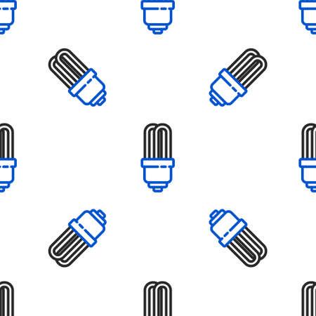 Line LED light bulb icon isolated seamless pattern on white background. Economical LED illuminated lightbulb. Save energy lamp. Colorful outline concept. Vector