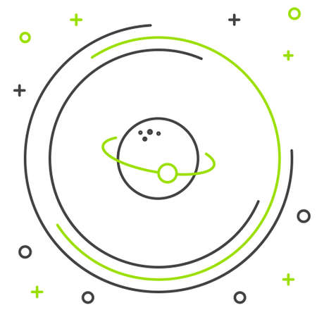 Line Planet icon isolated on white background. Colorful outline concept. Vector