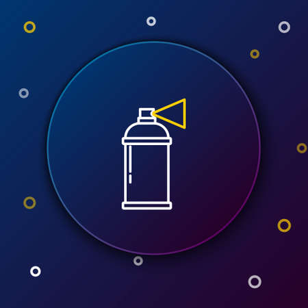 Line Paint spray can icon isolated on blue background. Colorful outline concept. Vector