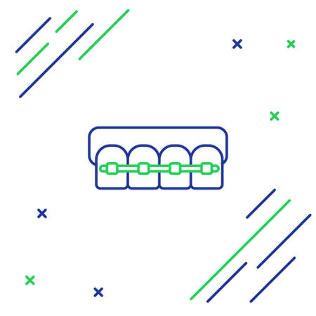 Line Teeth with braces icon isolated on white background. Alignment of bite of teeth, dental row with with braces. Dental concept. Colorful outline concept. Vector