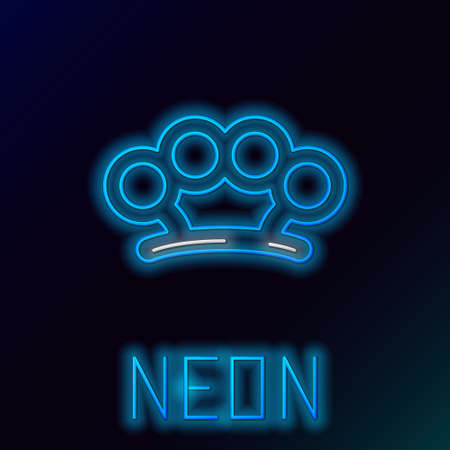Glowing neon line Brass knuckles icon isolated on black background. Colorful outline concept. Vector