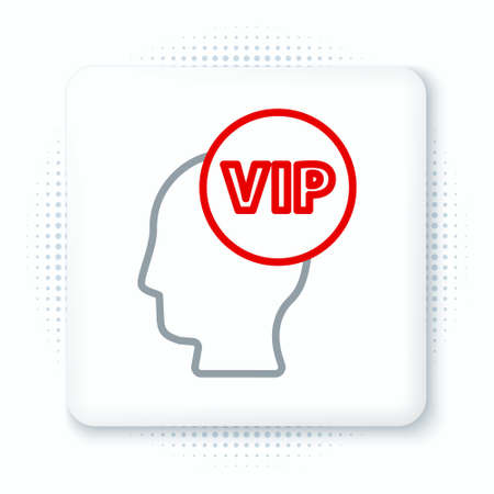 Line Vip inside human head icon isolated on white background. Colorful outline concept. Vector