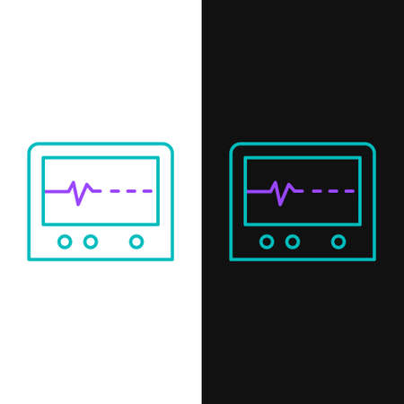 Line Beat dead in monitor icon isolated on white and black background. ECG showing death. Colorful outline concept. Vector 矢量图像