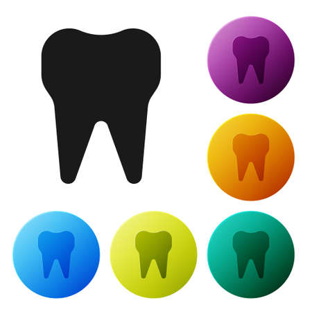 Black Tooth icon isolated on white background. Tooth symbol for dentistry clinic or dentist medical center and toothpaste package. Set icons in color circle buttons. Vector Illustration  イラスト・ベクター素材