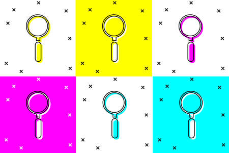 Set Magnifying glass icon isolated on color background. Search, focus, zoom, business symbol. Vector Illustration
