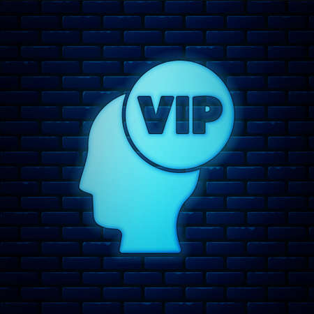 Glowing neon Vip inside human head icon isolated on brick wall background. Vector Vettoriali