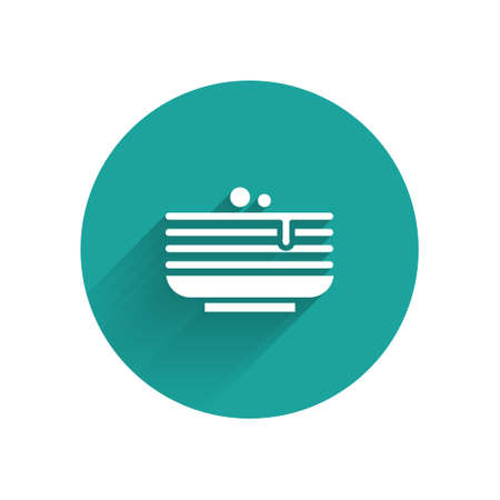 White Stack of pancakes icon isolated with long shadow. Baking with syrup and cherry. Breakfast concept. Green circle button. Vector
