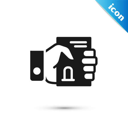 Grey Death certificate in hand icon isolated on white background. Vector Ilustrace