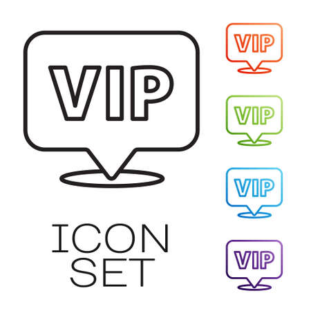 Black line Location Vip icon isolated on white background. Set icons colorful. Vector Vettoriali