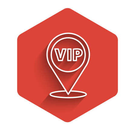 White line Location Vip icon isolated with long shadow. Red hexagon button. Vector