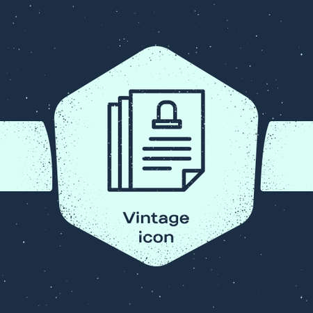 Grunge line Death certificate icon isolated on blue background. Monochrome vintage drawing. Vector Ilustrace