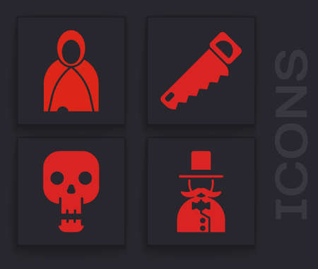 Set Magician, Mantle, cloak, cape, Hand saw and Skull icon. Vector Ilustração