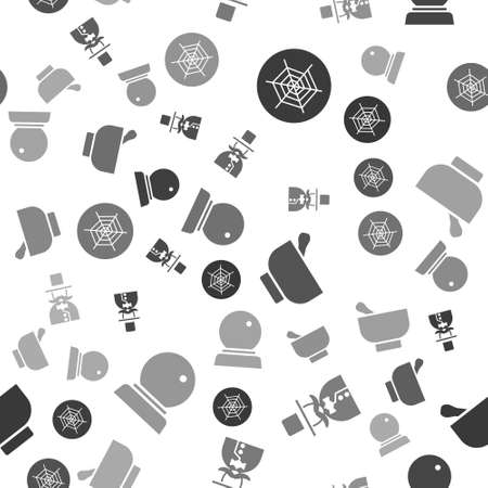 Set Spider web, Magician, Magic mortar and pestle and Magic ball on seamless pattern. Vector