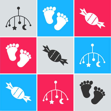 Set Baby crib hanging toys, Baby footprints and Candy icon. Vector
