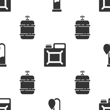 Set Oil petrol test tube, Canister for gasoline and Propane gas tank on seamless pattern. Vector