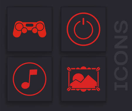 Set Picture landscape, Gamepad, Power button and Music note, tone icon. Vector