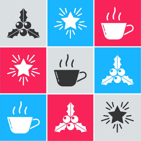 Set Branch viburnum or guelder rose, Christmas star and Coffee cup icon. Vector