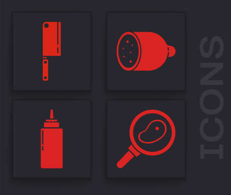 Set Steak meat in frying pan, Meat chopper, Salami sausage and Sauce bottle icon. Vector