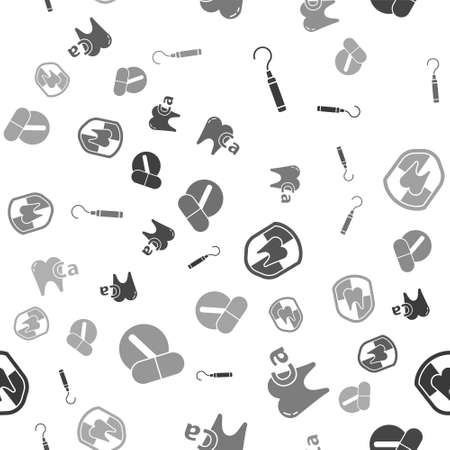Set Dental explorer scaler for teeth, Calcium for tooth, Dental protection and Medicine pill or tablet on seamless pattern. Vector  イラスト・ベクター素材